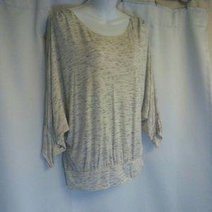 Tan Heather Blouse, Dolman Sleeves, size L